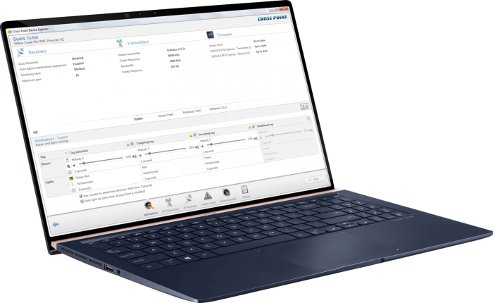 Laptop with dashboard Device Explorer - Cross Point